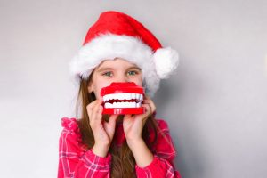 child Santa hat teeth